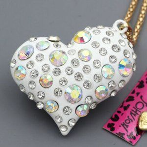 Betsey Johnson Rhinestone Silver Heart Necklace